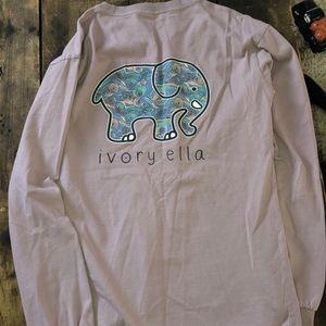 Ivory Ella Elephant Purple Long Sleeve Small